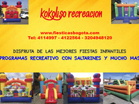Espectaculares Saltarines Para Fiestas Infantiles Con Kokoliso Recreacion  - Eventos - Todo Colombia