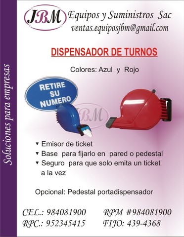 Vendo dispensador de ticket  color rojo - Otras Ventas - Lima